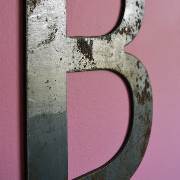 Steel Letter B closeup