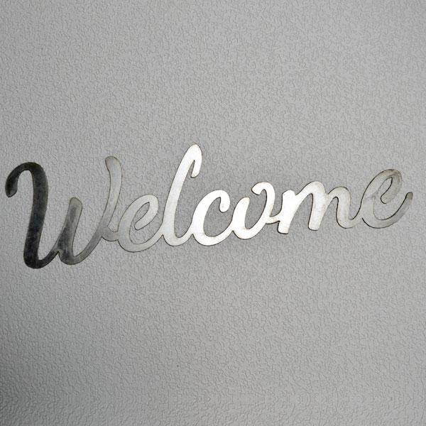 script welcome sign aluminum